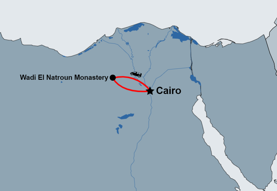 Day Tour to Wadi El Natroun Monastery from Cairo map
