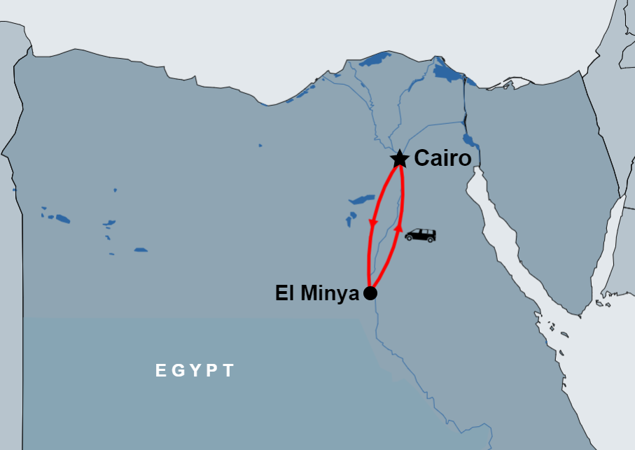 El Minya Day Tour from Cairo by car map
