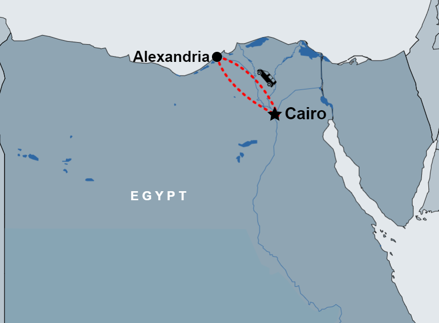 Day Tour to Alexandria from Cairo by car map