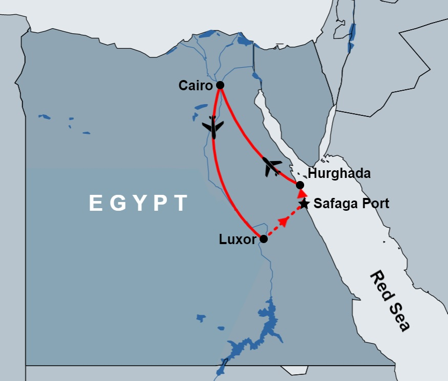 2 Days Tour to Cairo And Luxor from Safaga Port map