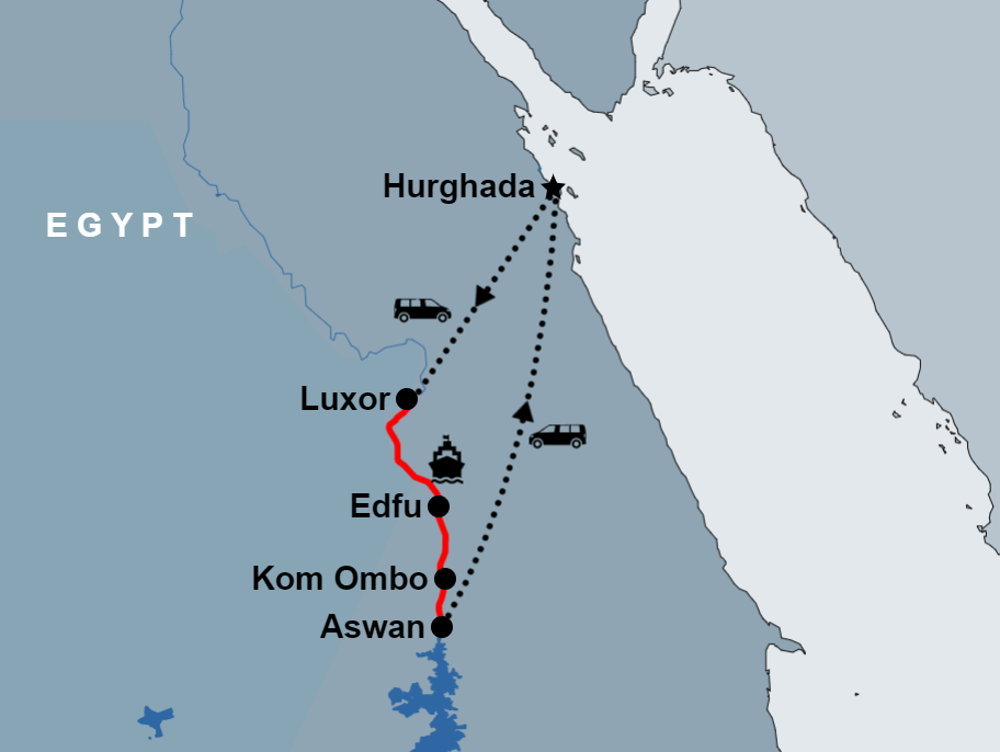 Luxor to Aswan Nile Cruise From Hurghada map