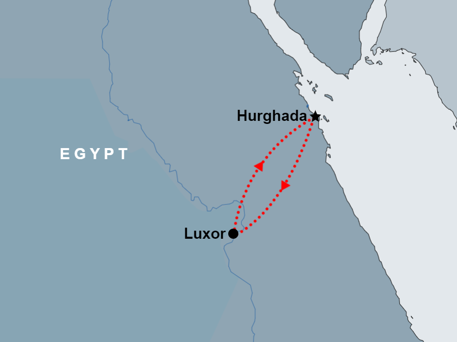 Luxor overnight Tour from Hurghada map