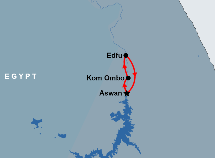 Private tour to Kom Ombo and Edfu Temples from Aswan map