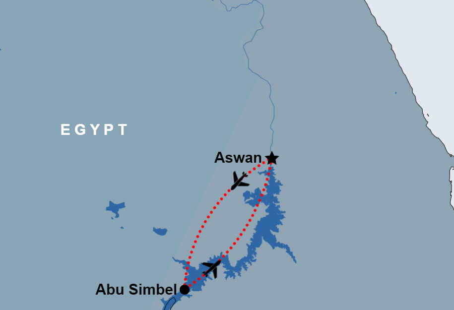 Day Trip to Abu Simbel from Aswan by flight map