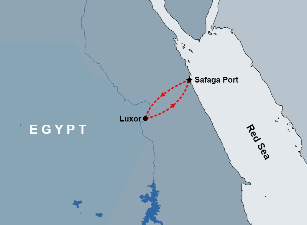 Luxor Day Tour from Safaga Port map