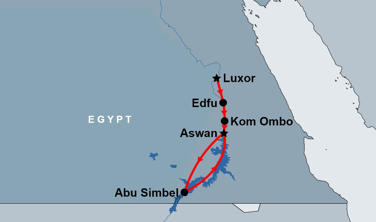 3 Day Luxor, Edfu, Kom Ombo, Aswan and Abu Simbel map