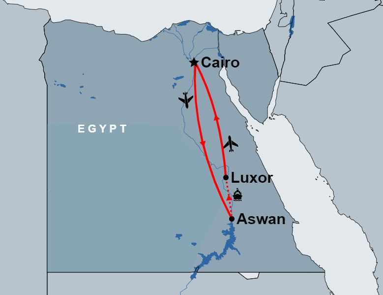 7 Day Cairo and Nile Cruise by Flight map