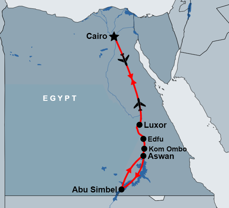 10 Day Round Trip Nile Cruise and Cairo Tours map