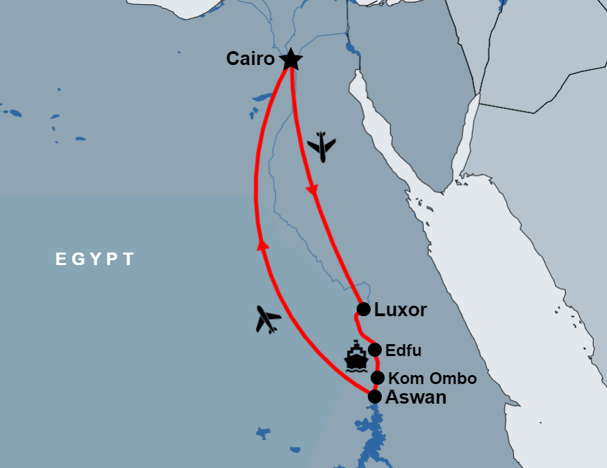 5 Day Luxor to Aswan Nile Cruise From Cairo By Flight map