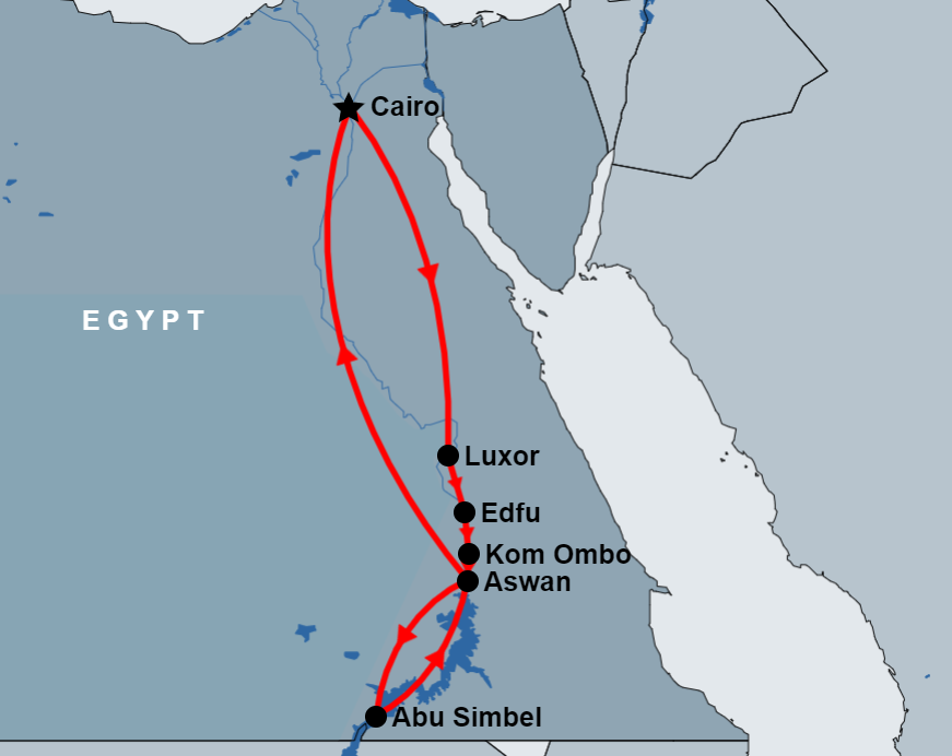 5 Day Cairo, Luxor, Edfu, Kom Ombo, Aswan and Abu Simbel map