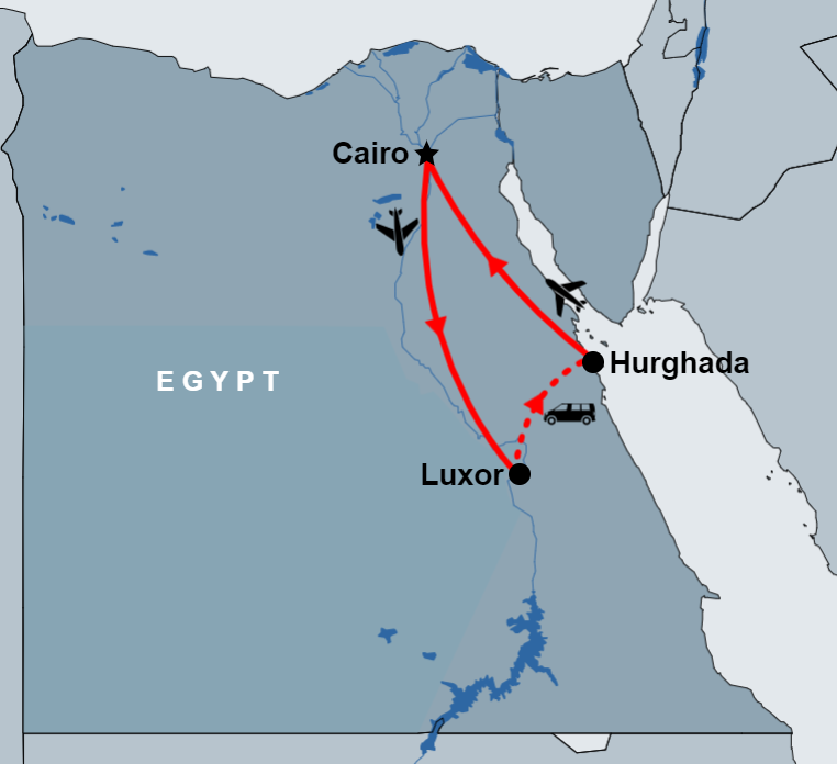 6 Day Cairo, Luxor and Hurghada Tour map