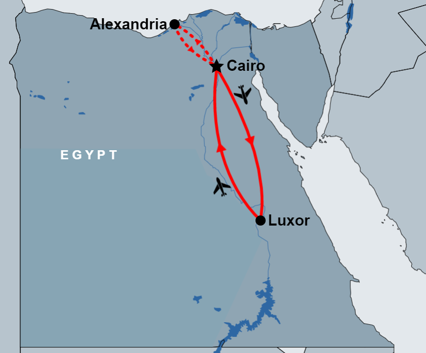 6 Day Cairo, Alexandria and Luxor Tour map