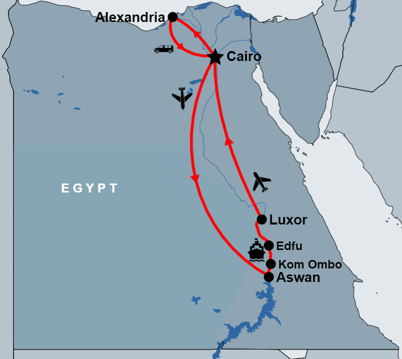 8 Day Cairo, Alexandria and Nile Cruise Tour Package by Flight map