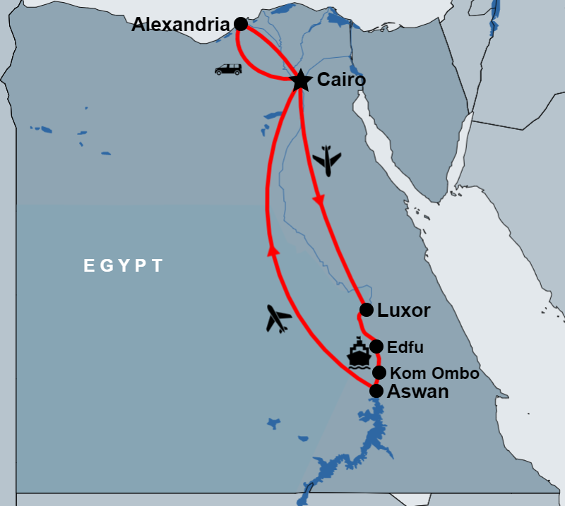 9 Day Cairo, Alexandria and Nile Cruise Tour Package by Flight map