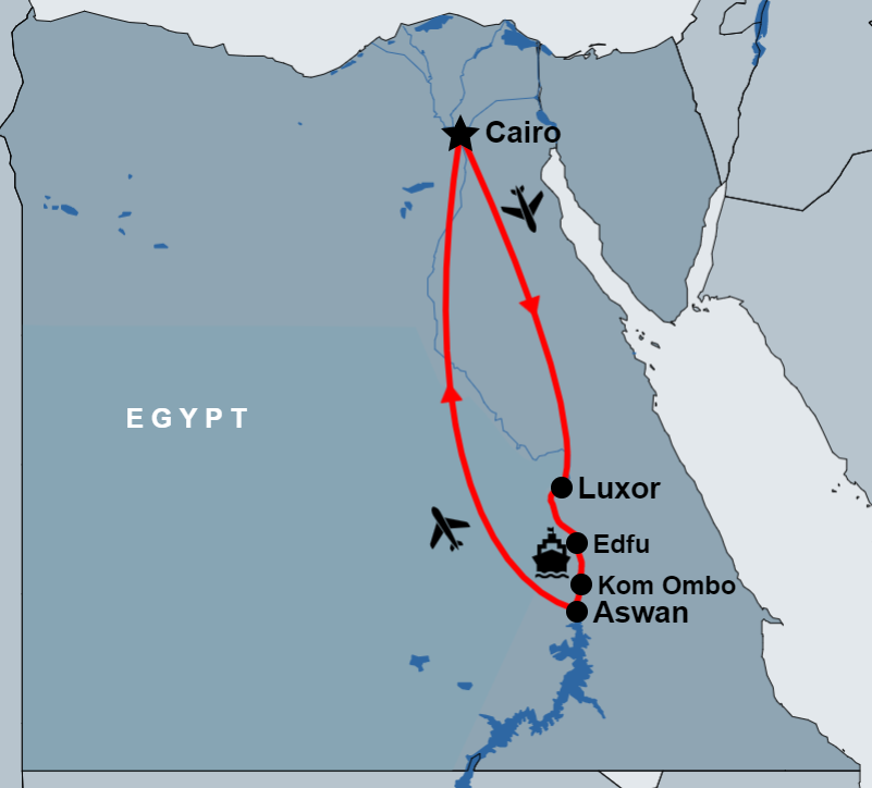 9 Day Cairo and Nile Cruise By Air map