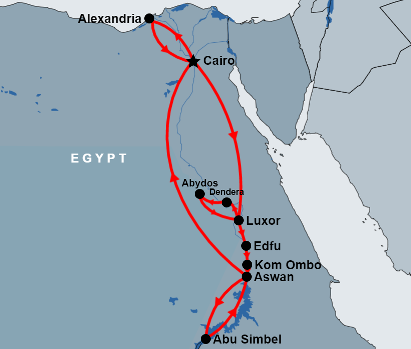 11 Day Cairo, Alexandria, Luxor , Abydos, Aswan and Abu Simbel map