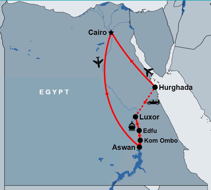 11 Days Cairo, Nile Cruise and Hurghada by Flight map