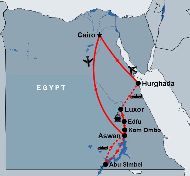 12 Days Pyramids, Nile and Hurghada map