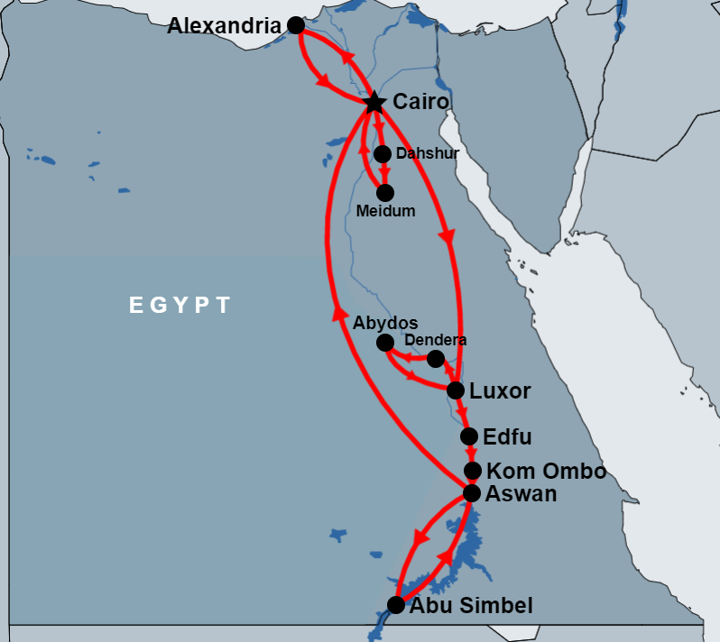 13 Day Cairo, Alexandria, Luxor , Abydos, Aswan and Abu Simbel map