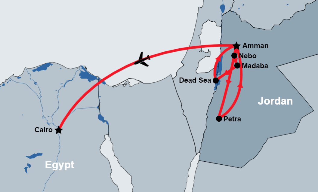 8 Day Road from Petra to Cairo map