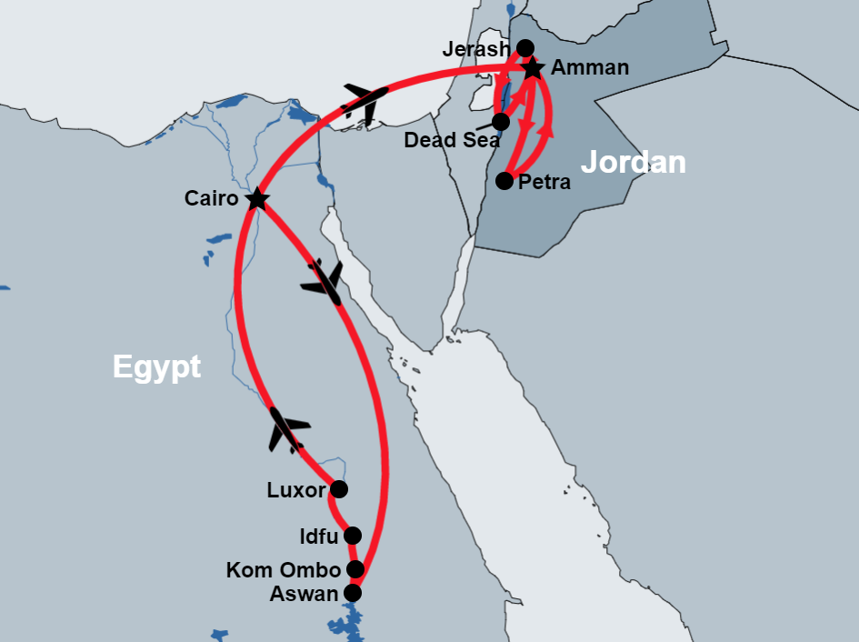 10 Day Egypt and Jordan Tours map