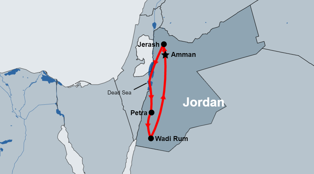 5 day jordan package map