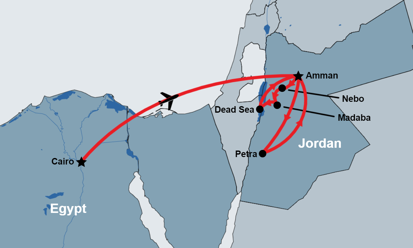 Egypt and Jordan Short Package map