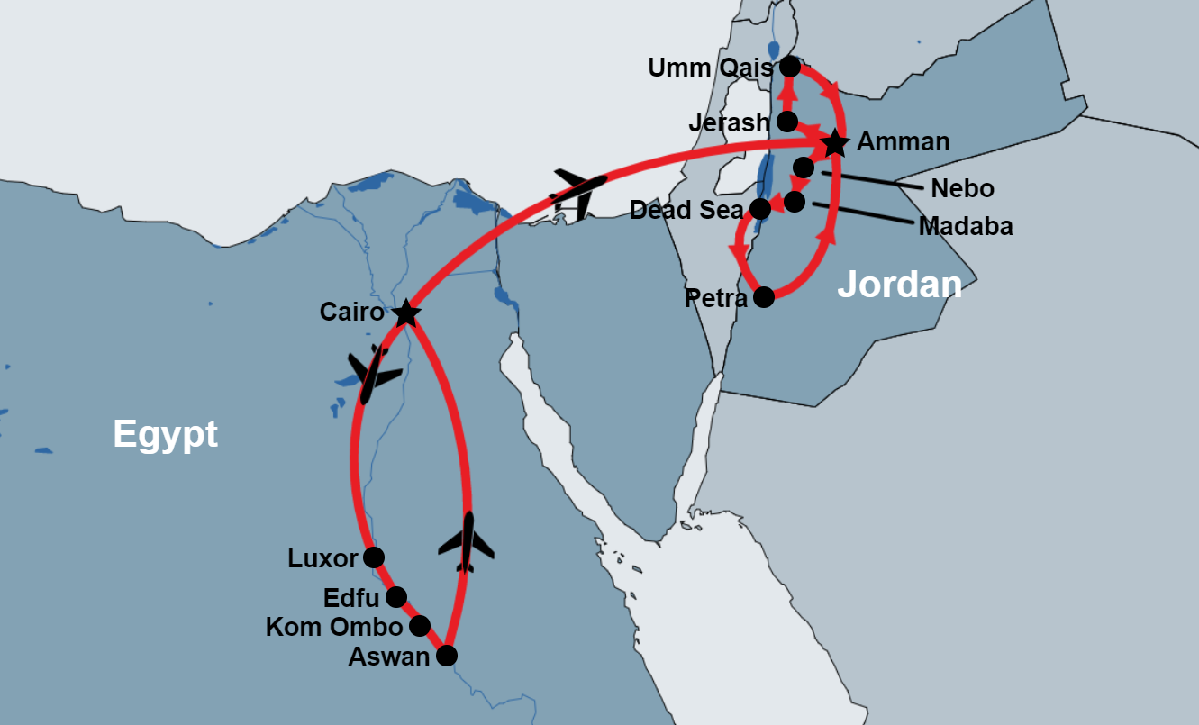 12 Day Egypt Nile Cruise and Jordan Tour map