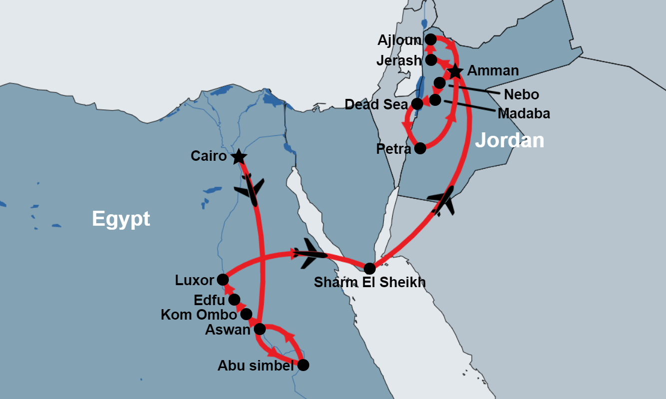 15 Day Egypt and Jordan Trip (Cairo, Nile Cruise and Dahab) map