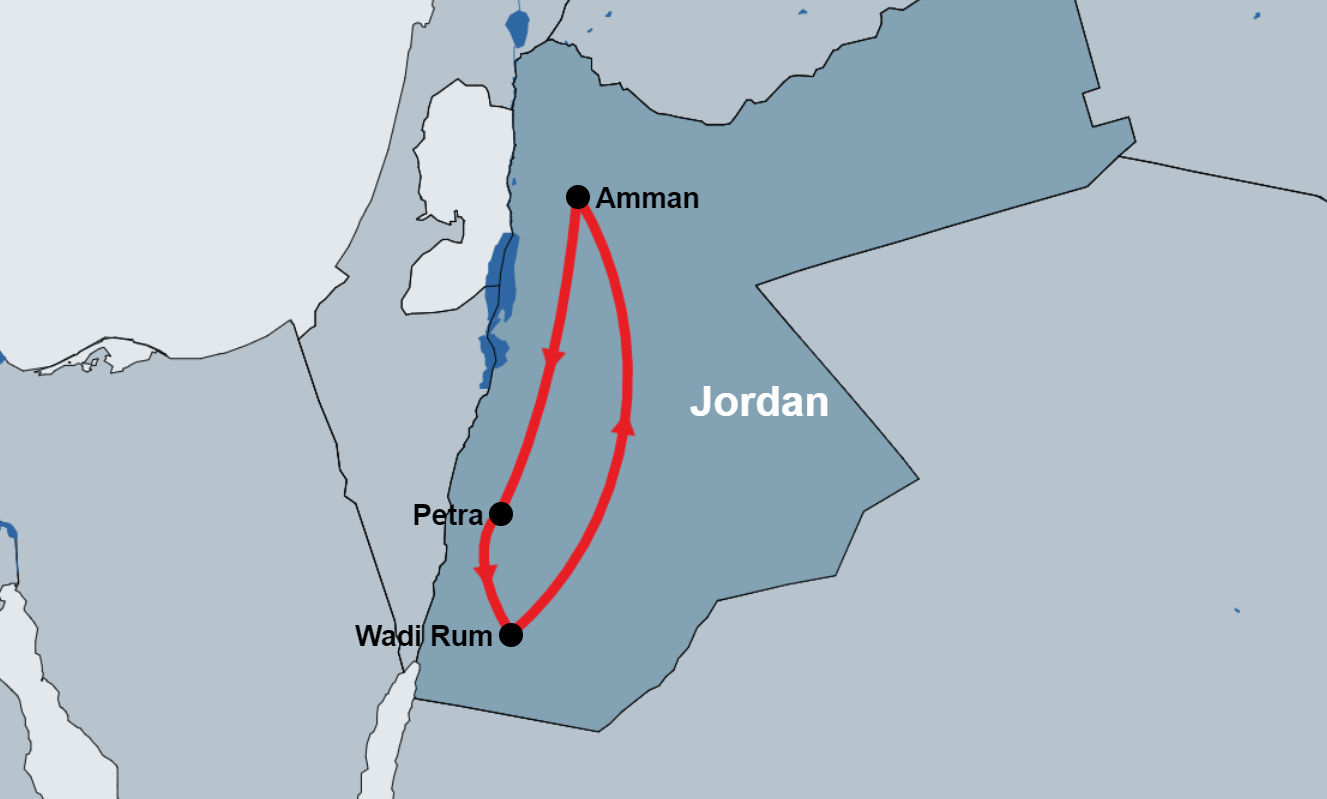Day Tour To Petra and Wadi Rum from Amman map
