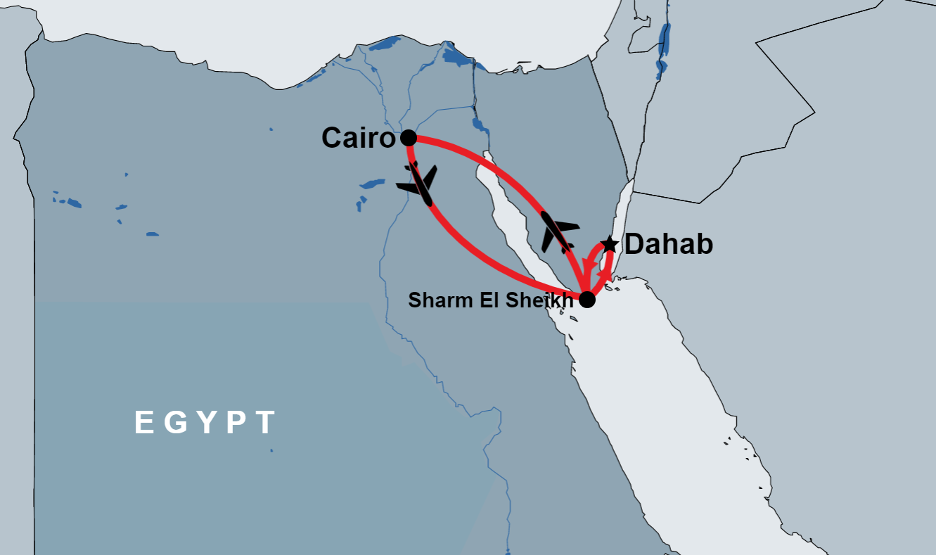 Two Day Tour to Cairo from Dahab map
