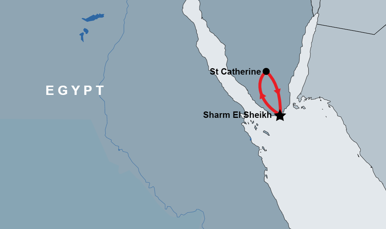 St. Catherine Tour from Sharm map