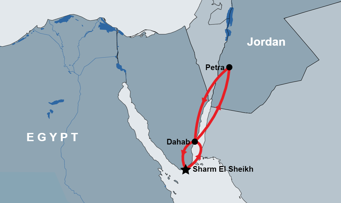 Petra Tour from Sharm by Cruise map