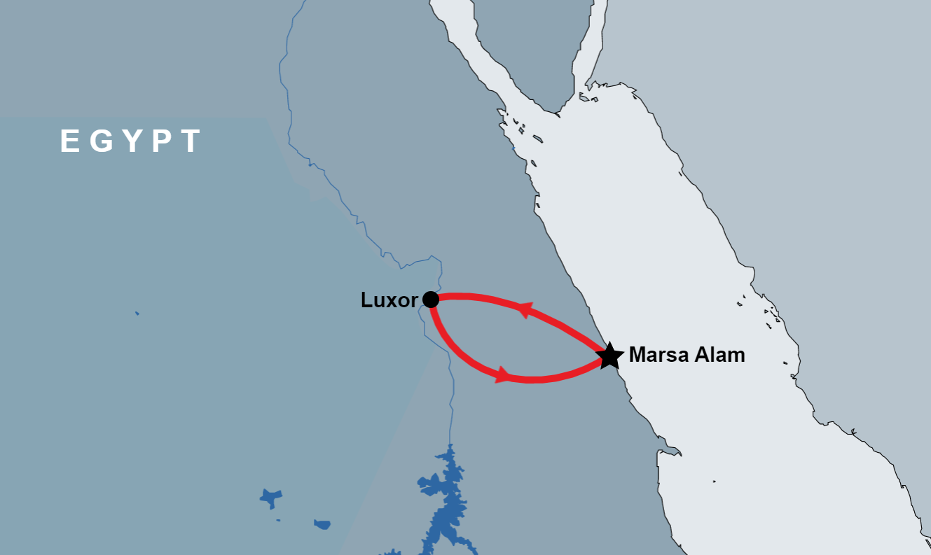 Overnight Trip to Luxor from Marsa Alam map