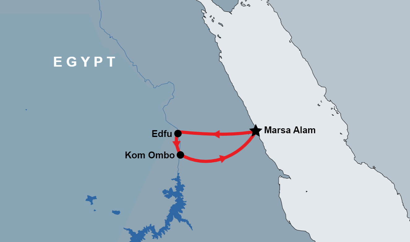 Tour to Edfu and Kom Ombo from Marsa Alam map