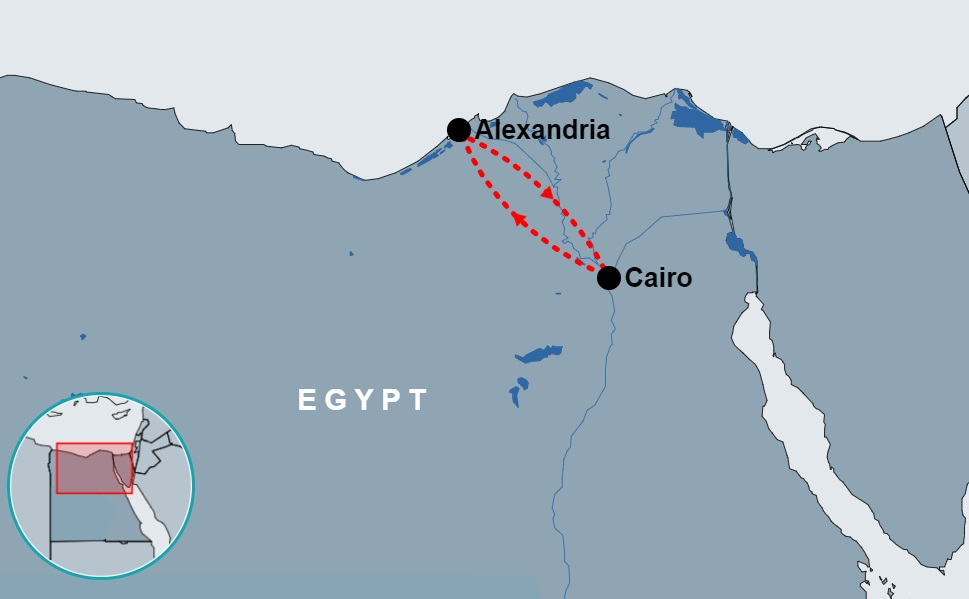 4 Day Cairo and Alexandria Tour Package map