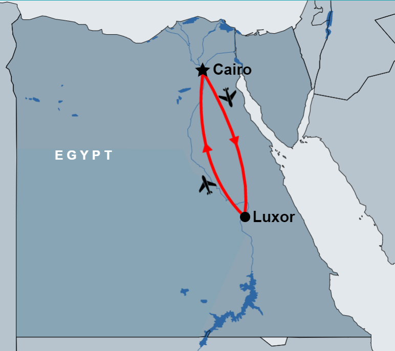 4 Day Cairo and Luxor Tour Package map