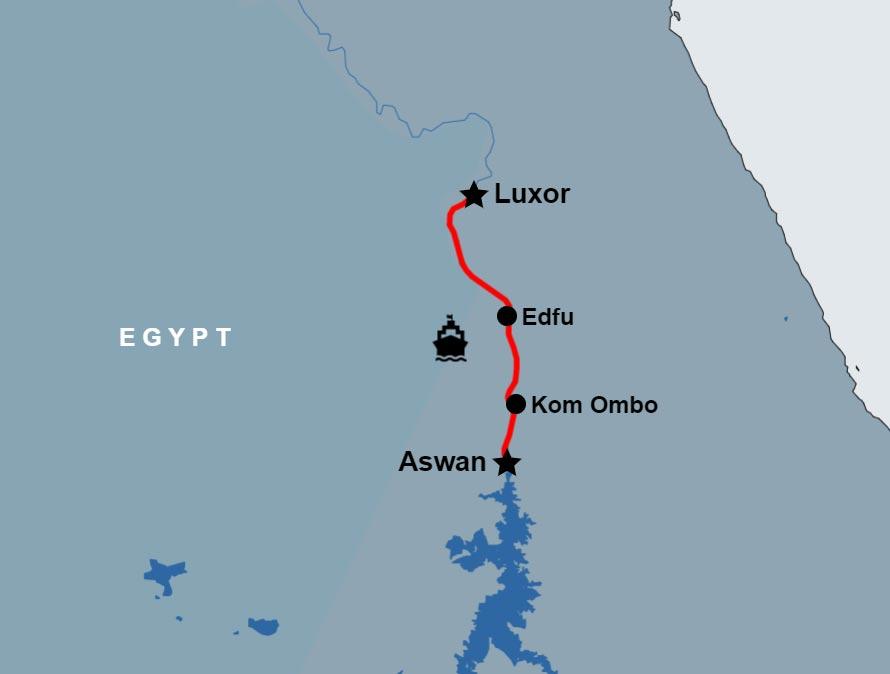 5 Day Merit Dahabiya Nile River Cruise Luxor to Aswan map