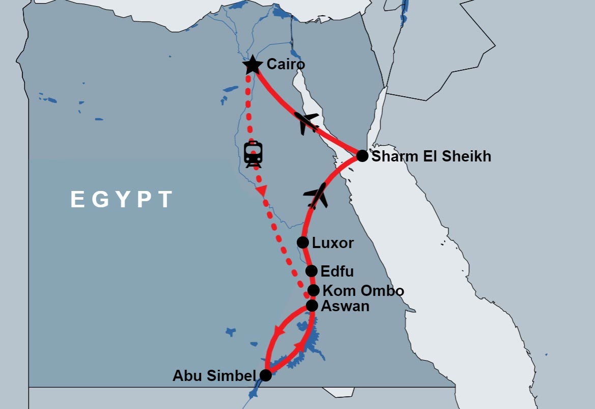 12 Days Pyramids, Nile and Sinai map