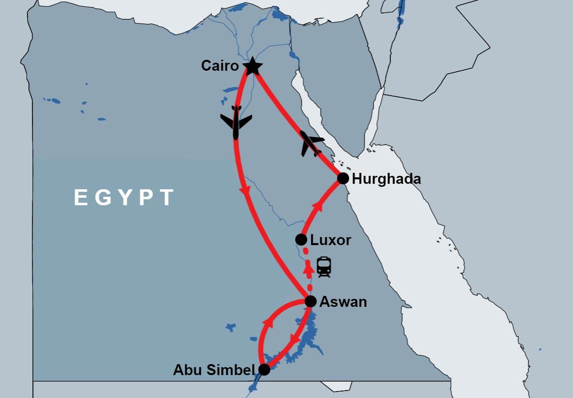 8 Day Cairo, Aswan, Abu Simbel, Luxor and Hurghada map