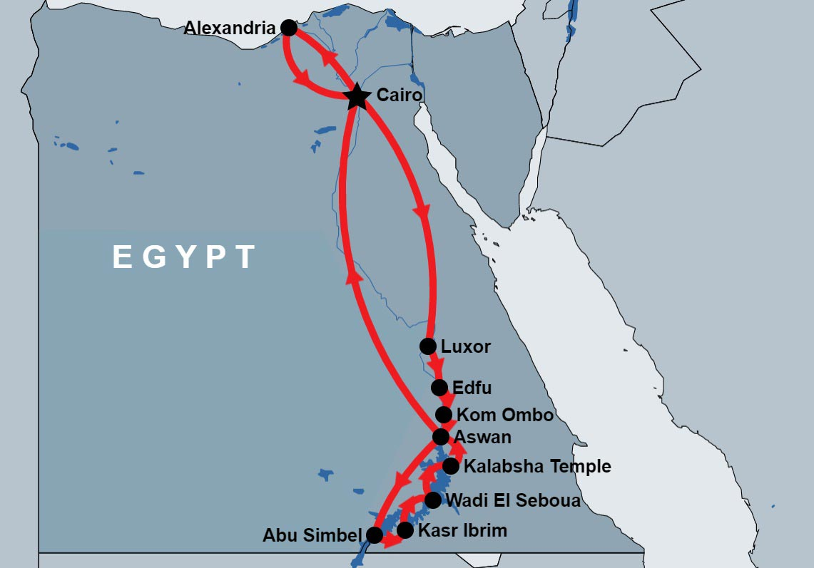 14 Day Cairo, Nile and Lake Cruise map