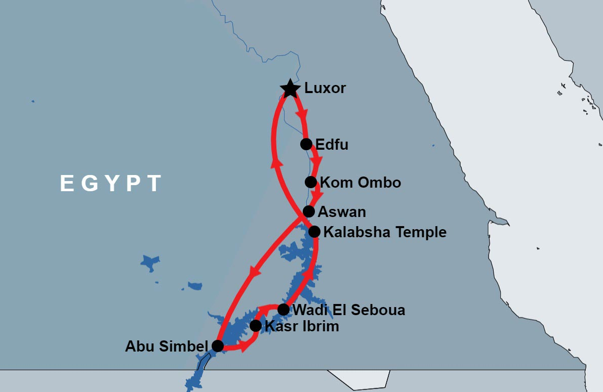 10 Days of Nile and Lake Nasser Cruises map