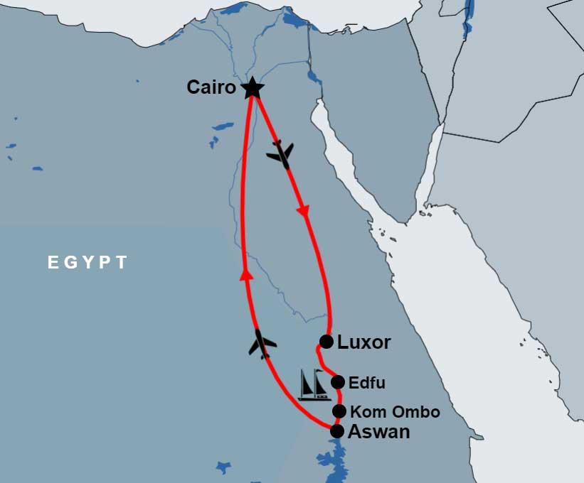 9 Day Cairo and Dahabiya Nile Cruise map