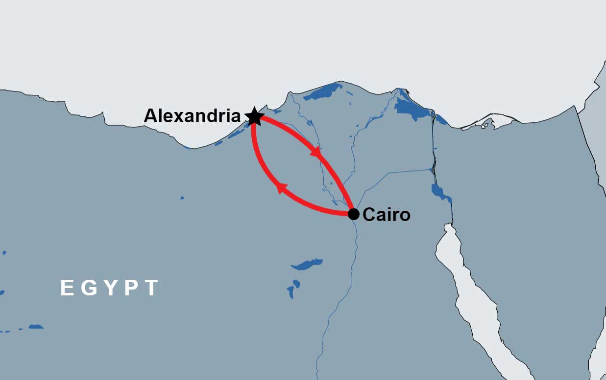 Overnight Tour to Cairo and Alexandria map