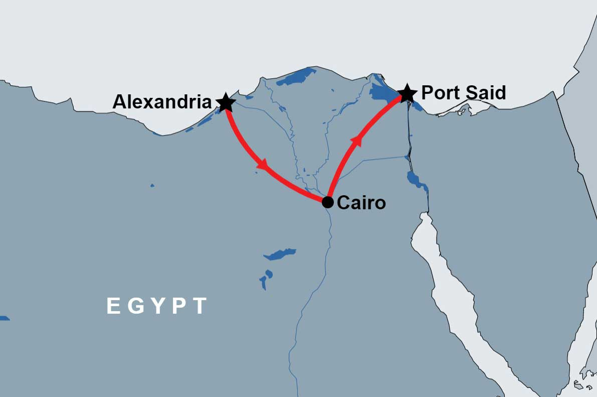 Cairo Tour from Alexandria Return to PortSaid map