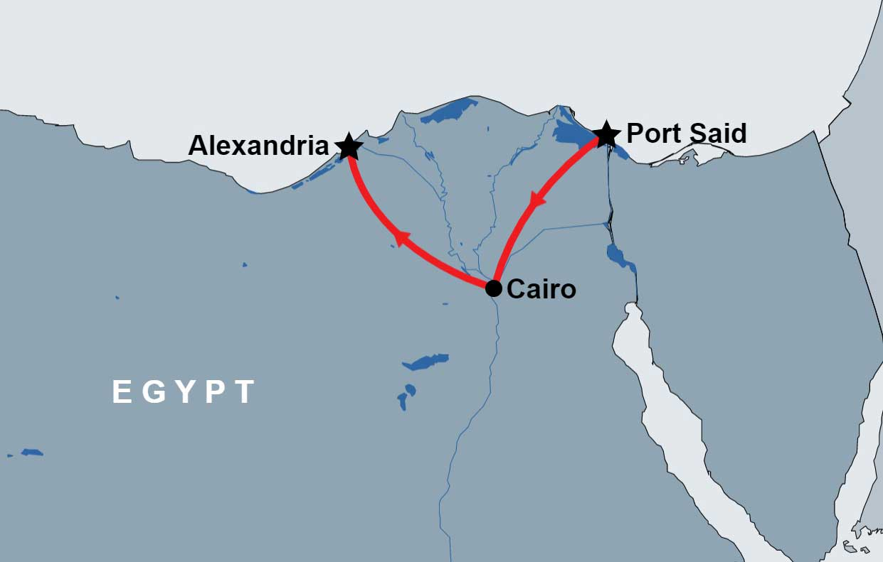 2 Day Tour of Cairo and Alexandria map