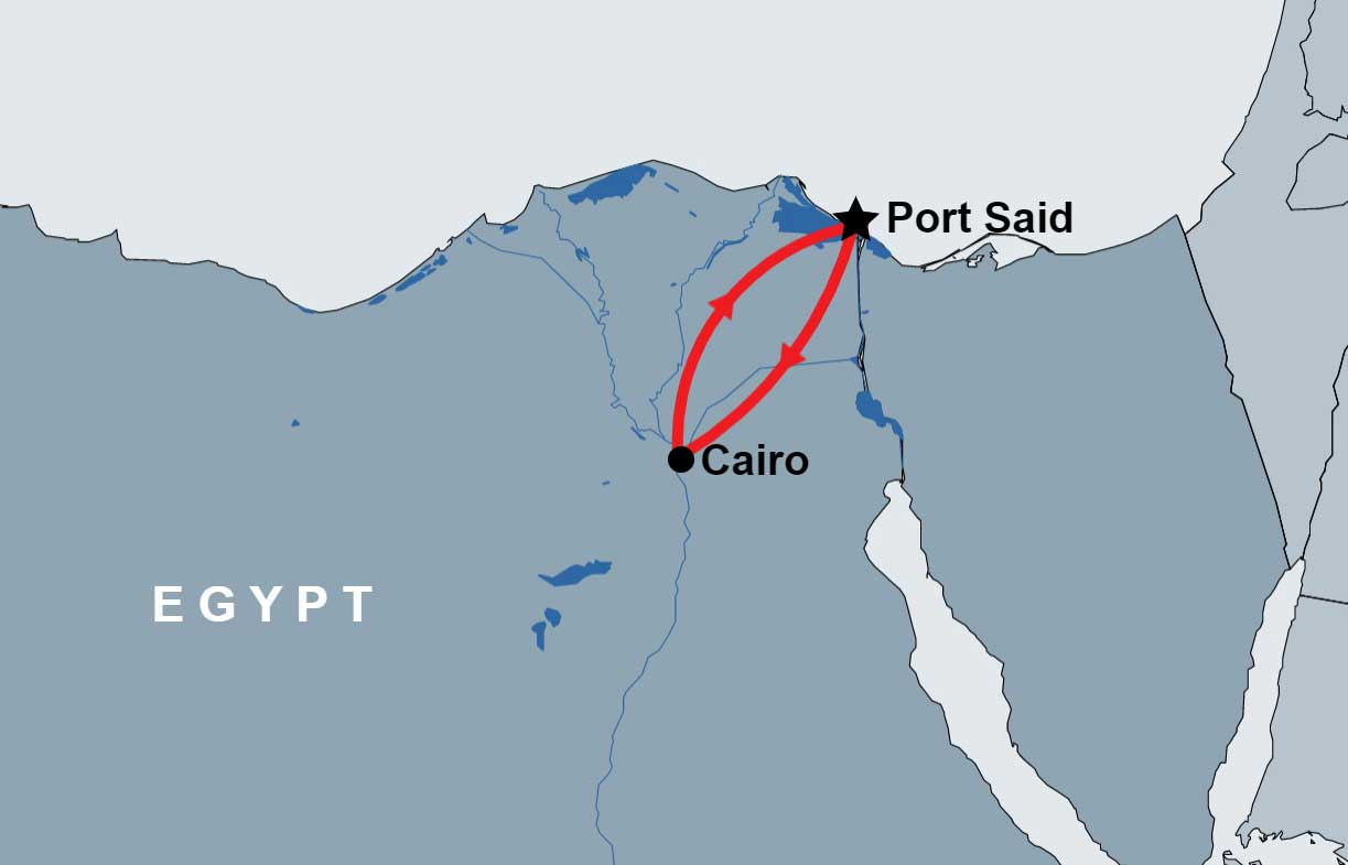Overnight Trip to Cairo from Port Said map