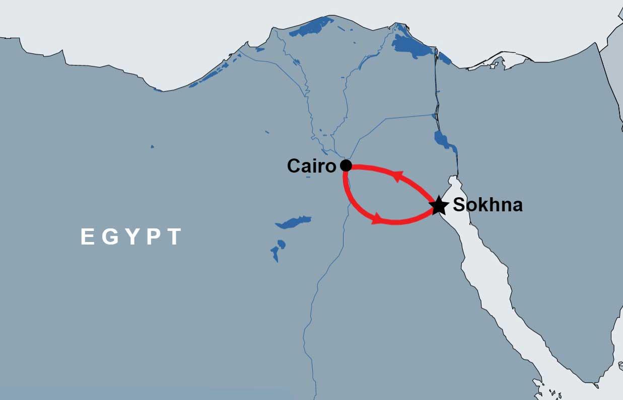Sakkara Pyramids Desert Safari Trip map