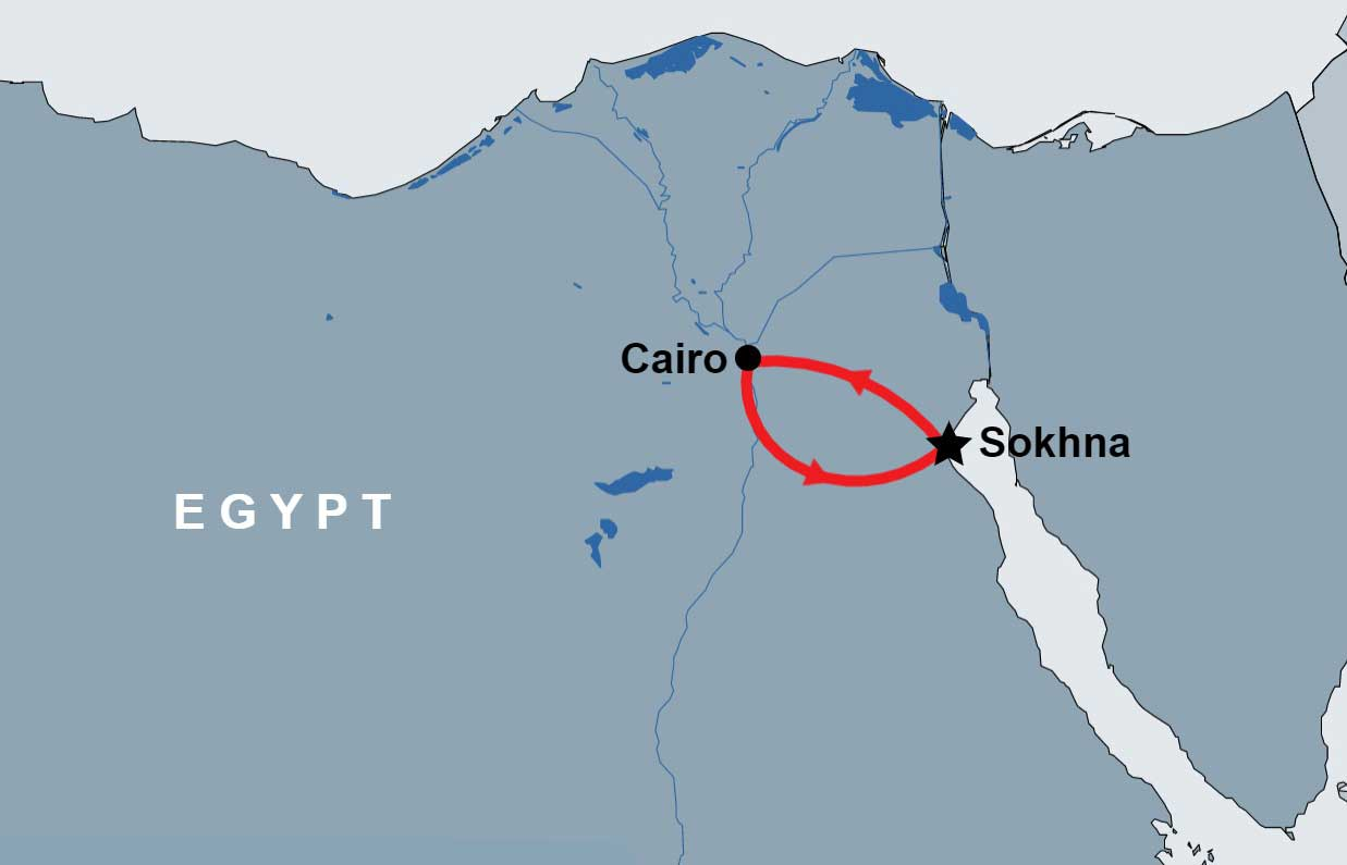 Cairo & Pyramids Trip from Port Sokhna map