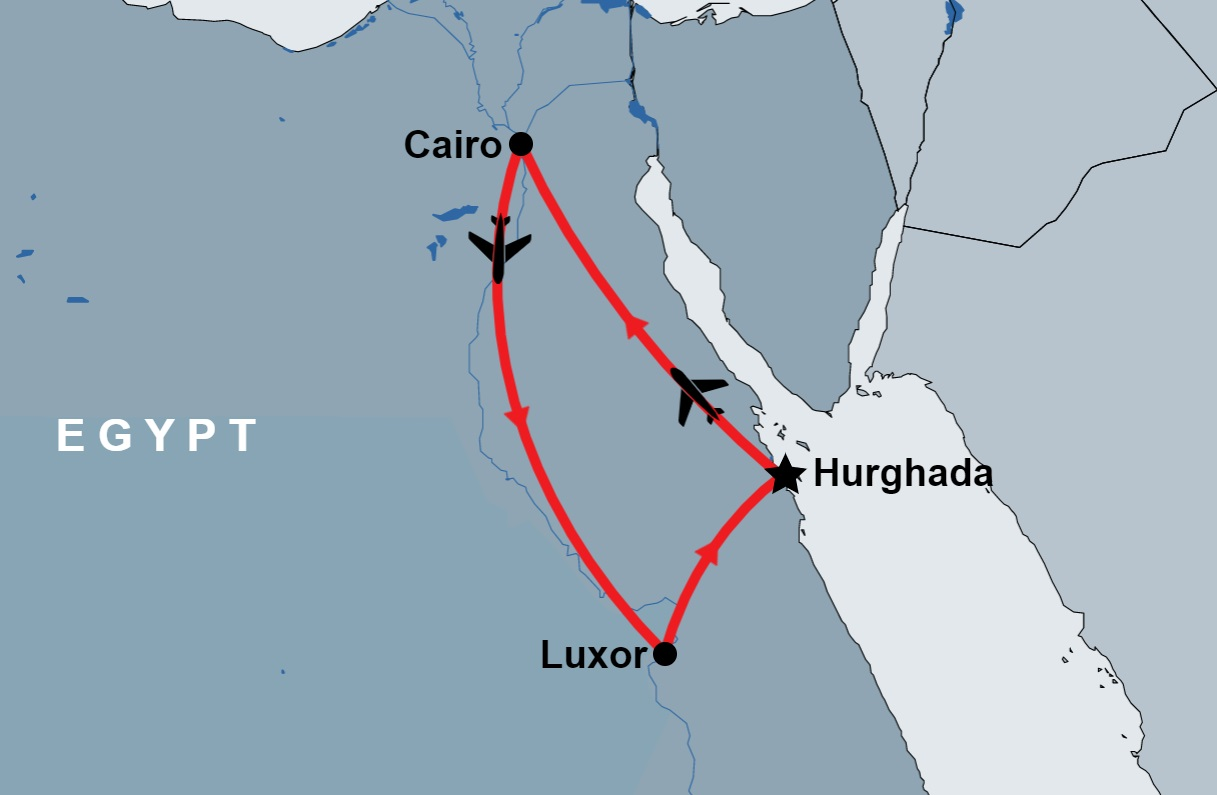 2 Day Cairo and Luxor from Hurghada by Flight map